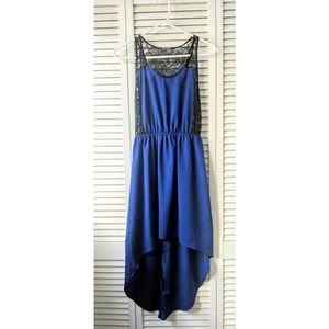 Blue & black high low dress with lace